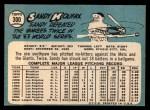 1965 Topps #300   Sandy Koufax Back Thumbnail