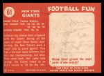 1958 Topps #61  Giants Team  Back Thumbnail