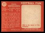 1958 Topps #77   Frank Varrichione Back Thumbnail
