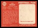 1958 Topps #103   Jim Ringo Back Thumbnail