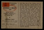 1954 Bowman #21  Norm Willey  Back Thumbnail