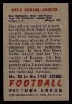 1951 Bowman #92   Otto Schnellbacher Back Thumbnail