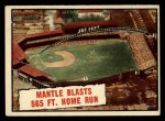 1961 Topps #406  Mantle Blasts 565 FT. Home Run  -  Mickey Mantle Front Thumbnail
