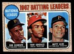 1968 Topps #1  NL Batting Leaders  -  Matty Alou / Roberto Clemente / Tony Gonzalez Front Thumbnail