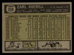 1961 Topps #358   Earl Averill Jr. Back Thumbnail