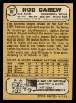 1968 Topps #80  Rod Carew  Back Thumbnail