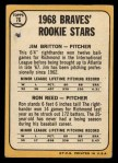 1968 Topps #76  Braves Rookies  -  Ron Reed / Jim Britton Back Thumbnail