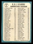 1965 Topps #5  AL RBI Leaders  -  Harmon Killebrew / Mickey Mantle / Brooks Robinson / Dick Stuart Back Thumbnail