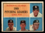 1961 Topps #47 ERR  -  Warren Spahn / Ernie Broglio / Lew Burdette / Vern Law NL Pitching Leaders Front Thumbnail