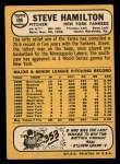 1968 Topps #496   Steve Hamilton Back Thumbnail