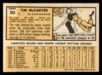 1963 Topps #394   Tim McCarver Back Thumbnail