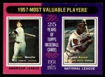 1975 Topps #195  1957 MVPs  -  Mickey Mantle / Hank Aaron Front Thumbnail