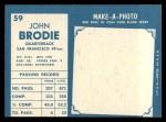 1961 Topps #59   John Brodie Back Thumbnail