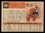 1959 Topps #508   Art Fowler Back Thumbnail