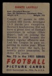 1951 Bowman #73   Dante Lavelli Back Thumbnail