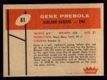 1960 Fleer #61  Gene Prebola  Back Thumbnail