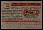 1956 Topps #106   John Olszewski Back Thumbnail