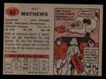 1957 Topps #63   Ray Mathews Back Thumbnail