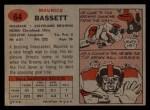1957 Topps #64   Maurice Bassett Back Thumbnail