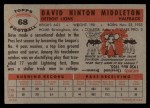 1956 Topps #68   Dave Middleton Back Thumbnail