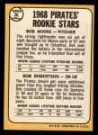 1968 Topps #36  Pirates Rookies  -  Bob Robertson / Bob Moose Back Thumbnail