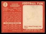 1958 Topps #7   Howard Cassady Back Thumbnail