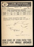 1959 Topps #87   Jim Patton Back Thumbnail