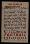 1951 Bowman #140  Leo Nomellini  Back Thumbnail