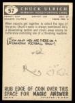 1959 Topps #57   Chuck Ulrich Back Thumbnail