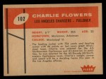 1960 Fleer #102  Charlie Flowers  Back Thumbnail
