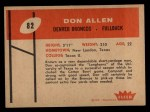 1960 Fleer #82   Dan Allen Back Thumbnail
