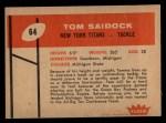 1960 Fleer #64  Tom Saidock  Back Thumbnail
