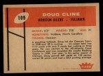 1960 Fleer #109   Doug Cline Back Thumbnail