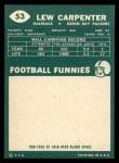 1960 Topps #53   Lew Carpenter Back Thumbnail