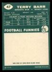 1960 Topps #47   Terry Barr Back Thumbnail