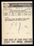 1959 Topps #113   Dave Middleton Back Thumbnail