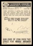 1959 Topps #156   Lindon Crow Back Thumbnail