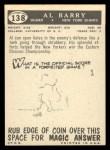 1959 Topps #138   Al Barry Back Thumbnail