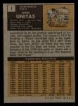 1971 Topps #1   Johnny Unitas Back Thumbnail