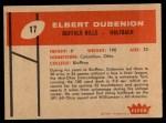 1960 Fleer #17   Elbert Dubenion Back Thumbnail