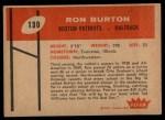 1960 Fleer #130   Ron Burton Back Thumbnail