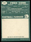 1960 Topps #34   Fred Cone Back Thumbnail