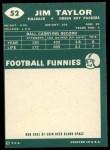 1960 Topps #52   Jim Taylor Back Thumbnail