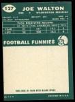 1960 Topps #127   Joe Walton Back Thumbnail