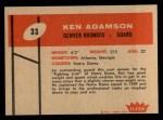 1960 Fleer #33  Ken Adamson  Back Thumbnail