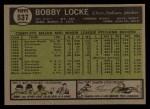 1961 Topps #537  Bobby Locke  Back Thumbnail