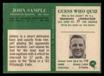 1966 Philadelphia #191   John Sample Back Thumbnail