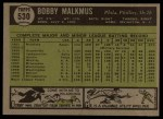 1961 Topps #530   Bobby Malkmus Back Thumbnail
