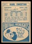 1968 Topps #217   Karl Sweetan Back Thumbnail