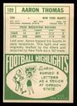 1968 Topps #109   Aaron Thomas Back Thumbnail